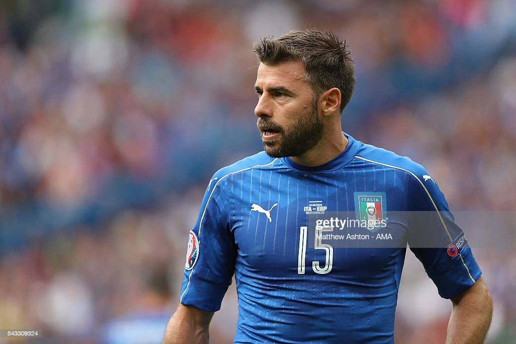 <a gi-track='captionPersonalityLinkClicked' href=/galleries/search?phrase=Andrea+Barzagli&family=editorial&specificpeople=465353 ng-click='$event.stopPropagation()'>Andrea Barzagli</a> of Italy looks on during the UEFA Euro 2016 Round of 16 match between Italy and Spain at Stade de France on June 27, 2016 in Paris, France.