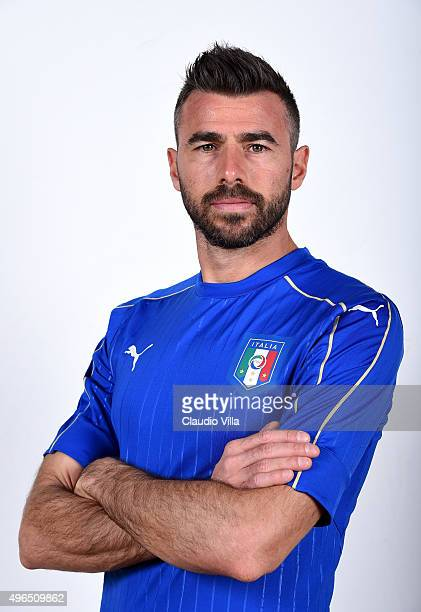 Andrea Barzagli of Italy poses during the official portrait session at Coverciano on November 10 2015 in Florence Italy