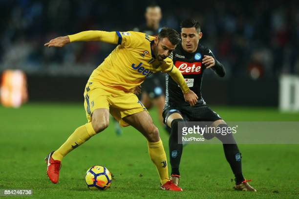 Andrea Barzagli of Juventus and Jose Maria Callejon of Napoli during the Serie A match between SSC Napoli and Juventus at Stadio San Paolo on...