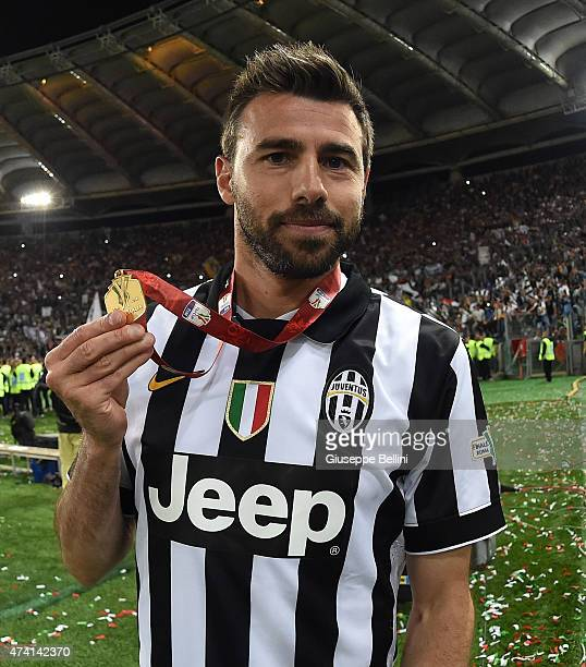 Andrea Barzagli of Juventus celebrates the victory after the TIM Cup final match between SS Lazio and Juventus FC at Olimpico Stadium on May 20 2015...
