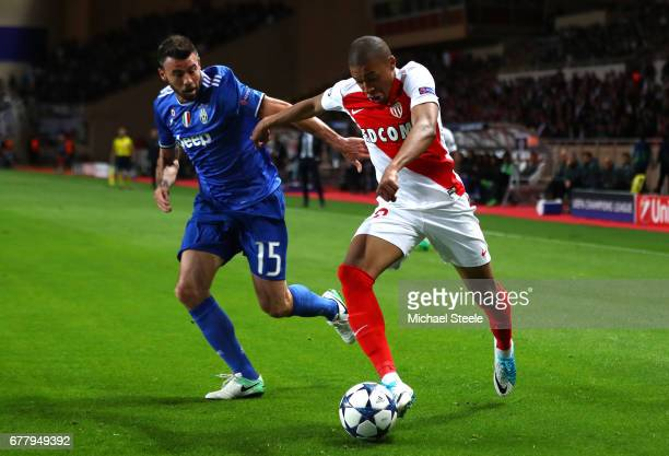 Andrea Barzagli of Juventus closes down Djibril Sidibe of AS Monaco during the UEFA Champions League Semi Final first leg match between AS Monaco v...