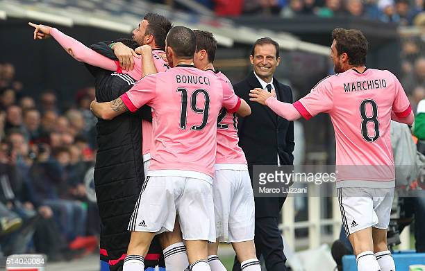Andrea Barzagli of Juventus FC celebrates with his teammates after scoring the opening goal during the Serie A match between Atalanta BC and Juventus...