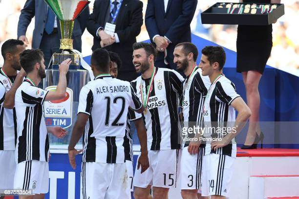 Andrea Barzagli of Juventus FC celebrates with team mates after the beating FC Crotone 30 to win the Serie A Championships at the end of the Serie A...