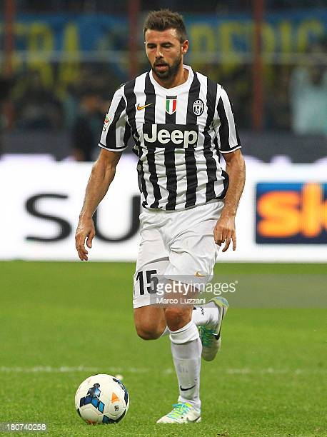 Andrea Barzagli of Juventus FC in action during the Serie A match between FC Internazionale Milano and Juventus FC at San Siro Stadium on September...