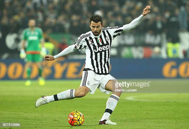 Andrea Barzagli of Juventus FC in action during the Serie A match between Juventus FC and AS Roma at Juventus Arena on January 24 2016 in Turin Italy