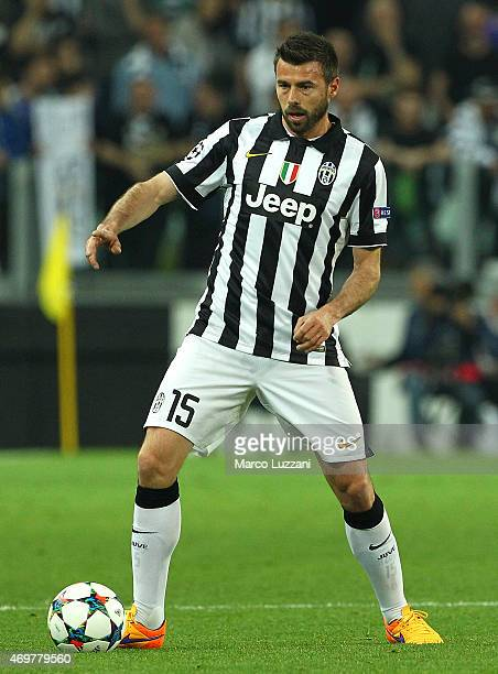 Andrea Barzagli of Juventus FC in action during the UEFA Champions League Quarter Final First Leg match between Juventus and AS Monaco FC at Juventus...
