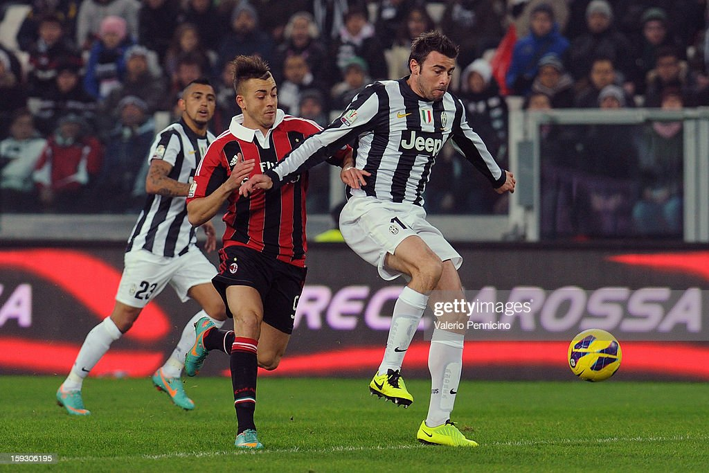 Andrea Barzagli (R) of Juventus FC is challenged by Stephan El Shaarawy of AC Milan during the TIM cup match between Juventus FC and AC Milan at Juventus Arena on January 9, 2013 in Turin, Italy.
