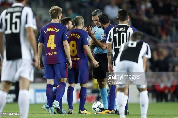 Andrea Barzagli of Juventus FC Ivan Rakitic of FC Barcelona Lionel Messi of FC Barcelona Andres Iniesta of FC Barcelona referee Damir Skomina Luis...