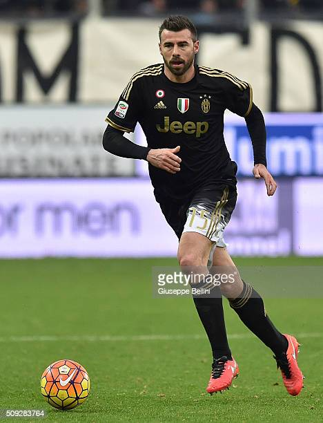 Andrea Barzagli of Juventus in action during the Serie A match between Frosinone Calcio and Juventus FC at Stadio Matusa on February 7 2016 in...