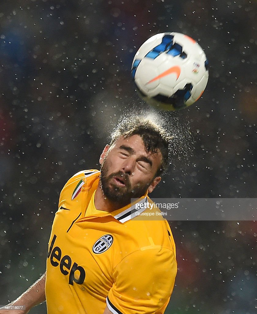 Andrea Barzagli of Juventus in action during the Serie A match between US Sassuolo Calcio and Juventus at Mapei Stadium on April 28, 2014 in Sassuolo, Italy.