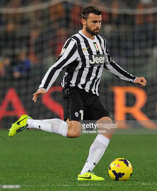 Andrea Barzagli of Juventus in action during the TIM Cup match between AS Roma and Juventus FC at Olimpico Stadium on January 21 2014 in Rome Italy