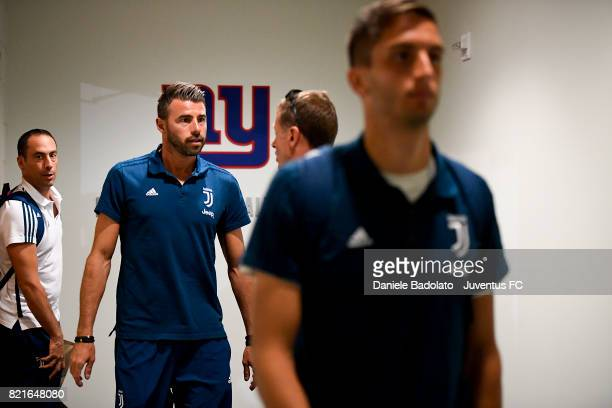 Andrea Barzagli of Juventus in the dressing room before the International Champions Cup match between Juventus and Barcelona at MetLife Stadium on...