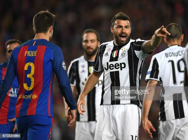 Andrea Barzagli of Juventus reacts during the UEFA Champions League Quarter Final second leg match between FC Barcelona and Juventus at Camp Nou on...