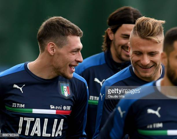 Andrea Belotti and Ciro Immobile of Italy chat during the training session at the club's training ground at Coverciano on March 23 2017 in Florence...