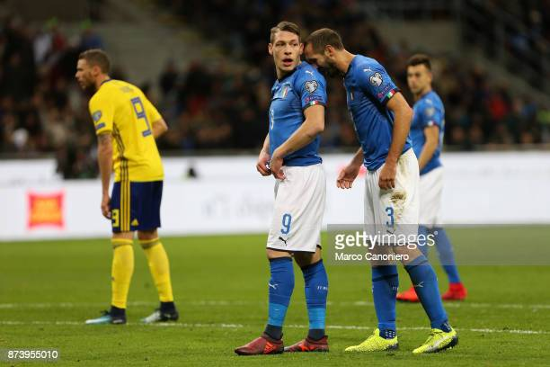 Andrea Belotti and Giorgio Chiellini of Italy during the FIFA 2018 World Cup playoff Qualifier match between Italy and Sweden Aggregate result Sweden...
