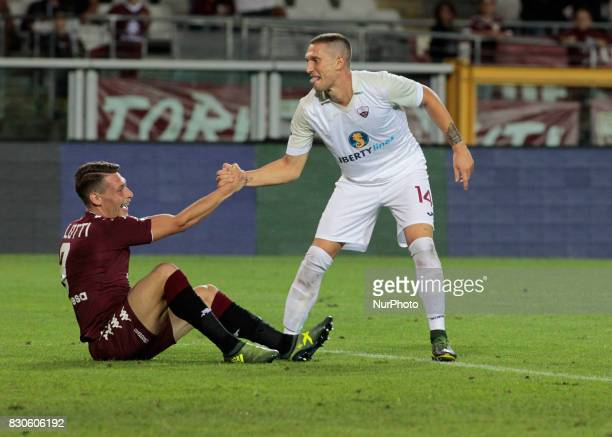 Andrea Belotti and Tommaso Silvestri during Tim Cup 2017/2018 match between Torino v Trapani in Turin on August 11 2017 FC Torino win 71 the math