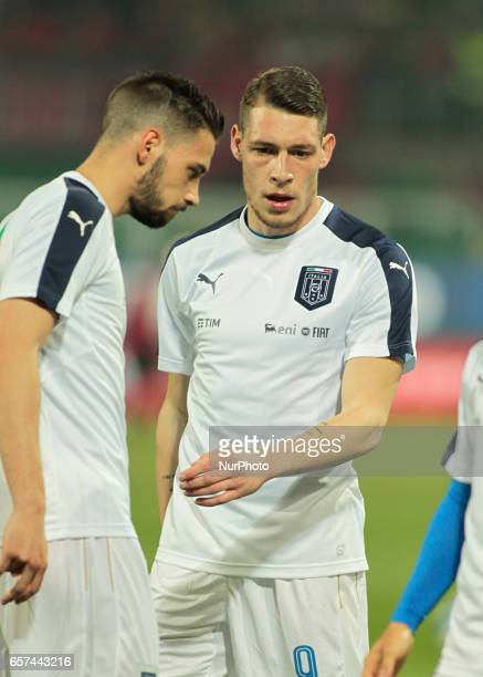 Andrea Belotti during the match to qualify for the Football World Cup 2018 between Italia v Albania in Palermo on March 24 2017