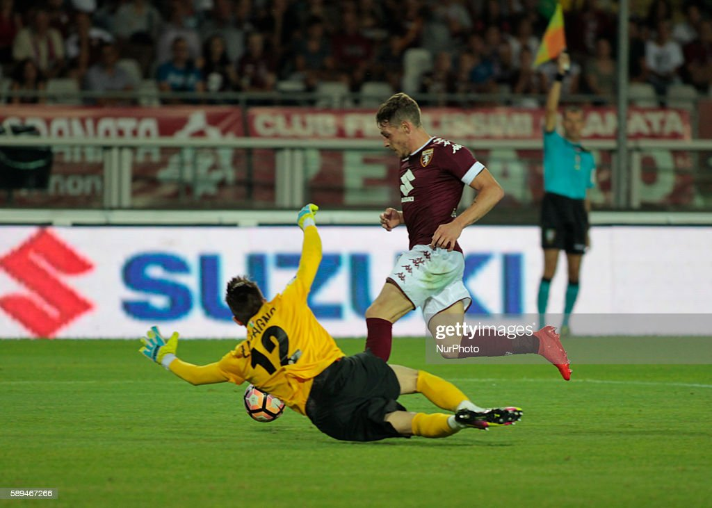 Andrea Belotti during Tim Cup 20162017 match between Torino FC and FC Pro Vercelli at the Olympic Stadium of Turin on august 013 2016 in Torino italy