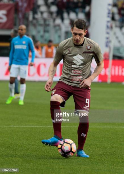 Andrea Belotti during warm up prior to the Serie A match between FC Torino and FC Internazionale at Stadio Olimpico di Torino on March 18 2017 in...