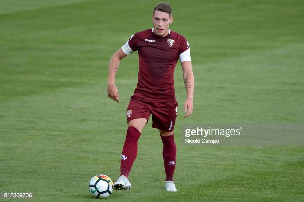 Andrea Belotti in action during a Torino FC training session