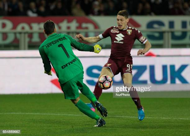 Andrea Belotti in action during the Serie A match between FC Torino and FC Internazionale at Stadio Olimpico di Torino on March 18 2017 in Turin Italy