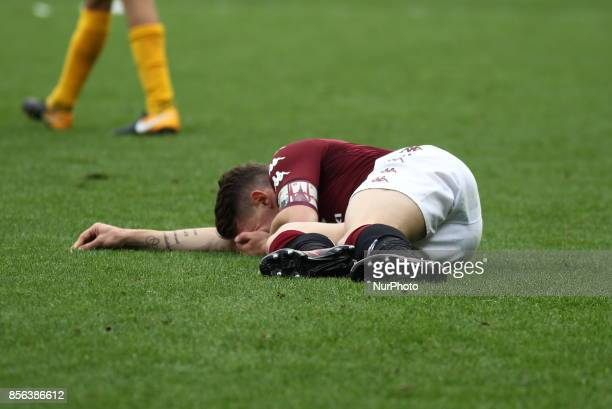 Andrea Belotti is injured during the Serie A football match between Torino FC and Hellas Verona FC at Olympic Grande Torino Stadium on 1 October 2017...