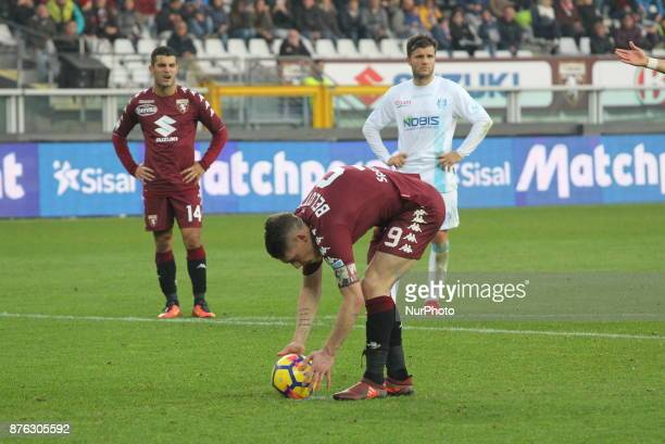 Andrea Belotti is preparing to kick the penalty during the Serie A football match between Torino FC and AC Chievo Verona at Olympic Grande Torino...