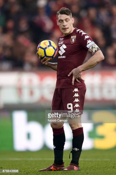 Andrea Belotti looks concentrated before kicking a penalty during the Serie A football match between Torino FC and AC ChievoVerona The match ended in...