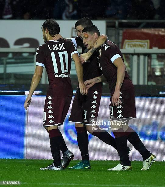 Andrea Belotti of FC Torino celebrates a goal during the Serie A match between FC Torino and Cagliari Calcio at Stadio Olimpico di Torino on November...