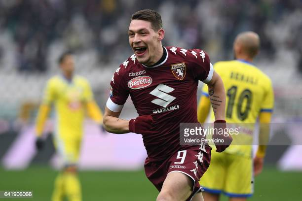 Andrea Belotti of FC Torino celebrates a goal during the Serie A match between FC Torino and Pescara Calcio at Stadio Olimpico di Torino on February...