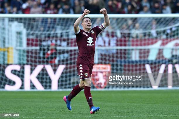Andrea Belotti of FC Torino celebrates a goal during the Serie A match between FC Torino and US Citta di Palermo at Stadio Olimpico di Torino on...