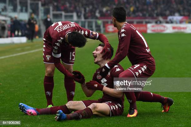 Andrea Belotti of FC Torino celebrates a goal with team mates Marco Benassi and Iago Falque during the Serie A match between FC Torino and Pescara...