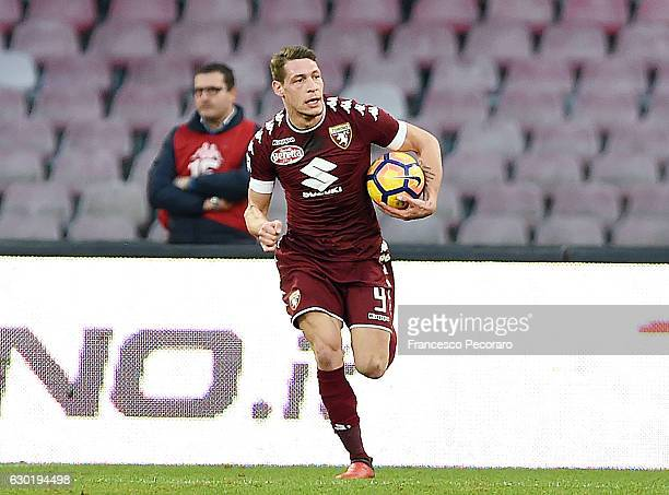 Andrea Belotti of FC Torino celebrates after scoring goal 31 during the Serie A match between SSC Napoli and FC Torino at Stadio San Paolo on...