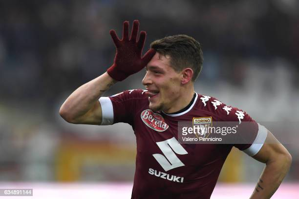 Andrea Belotti of FC Torino celebrates after scoring his second goal during the Serie A match between FC Torino and Pescara Calcio at Stadio Olimpico...