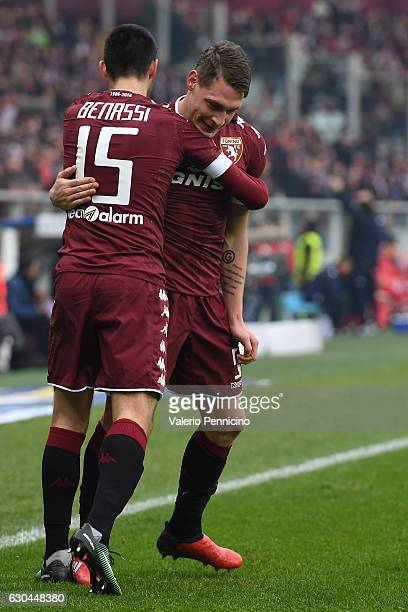 Andrea Belotti of FC Torino celebrates after scoring the opening goal with team mate Marco Benassi during the Serie A match between FC Torino and...