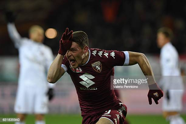 Andrea Belotti of FC Torino celebrates after scoring the opening goal during the Serie A match between FC Torino and AC Milan at Stadio Olimpico di...