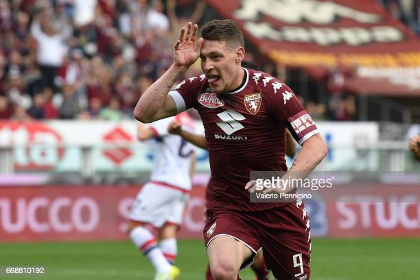 Andrea Belotti of FC Torino celebrates after scoring the opening goal from the penalty spot during the Serie A match between FC Torino and FC Crotone...