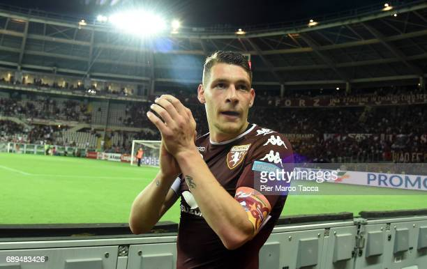 Andrea Belotti of FC Torino celebrates under FC Turin's fans at the end of Serie A match between FC Torino and US Sassuolo at Stadio Olimpico di...