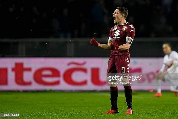 Andrea Belotti of FC Torino celebrates victory at the end of the Serie A match between FC Torino and Genoa CFC at Stadio Olimpico di Torino on...