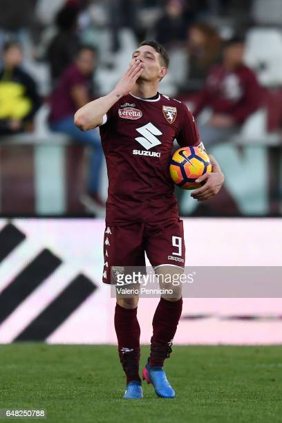 Andrea Belotti of FC Torino celebrates victory at the end of the Serie A match between FC Torino and US Citta di Palermo at Stadio Olimpico di Torino...