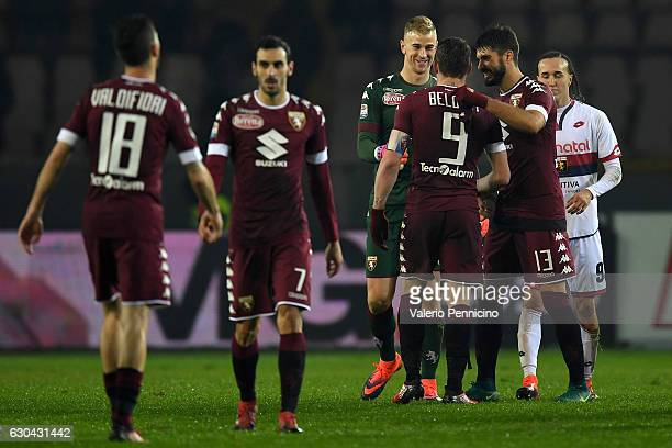 Andrea Belotti of FC Torino celebrates victory with team mate Joe Hart at the end of the Serie A match between FC Torino and Genoa CFC at Stadio...