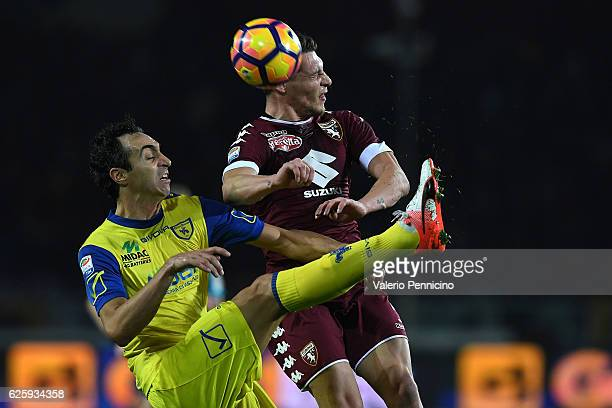 Andrea Belotti of FC Torino clashes with Dario Dainelli of AC ChievoVerona during the Serie A match between FC Torino and AC ChievoVerona at Stadio...