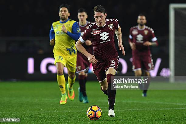 Andrea Belotti of FC Torino in action during the Serie A match between FC Torino and AC ChievoVerona at Stadio Olimpico di Torino on November 26 2016...