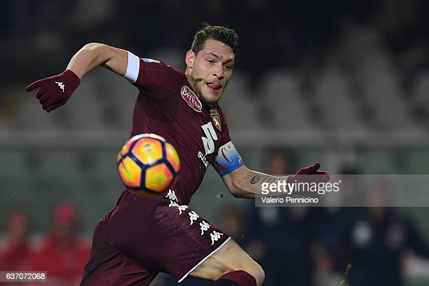 Andrea Belotti of FC Torino in action during the Serie A match between FC Torino and Genoa CFC at Stadio Olimpico di Torino on December 22 2016 in...