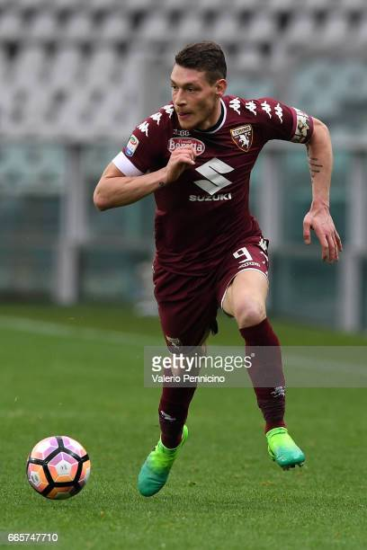 Andrea Belotti of FC Torino in action during the Serie A match between FC Torino and Udinese Calcio at Stadio Olimpico di Torino on April 2 2017 in...