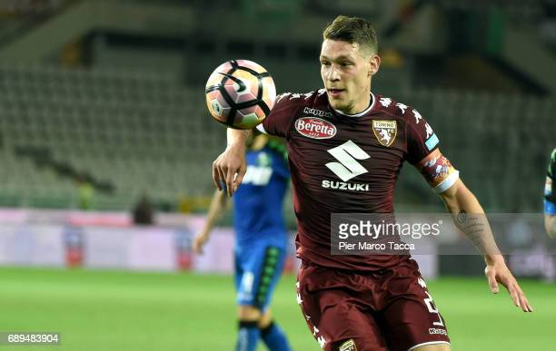 Andrea Belotti of FC Torino in action during the Serie A match between FC Torino and US Sassuolo at Stadio Olimpico di Torino on May 28 2017 in Turin...