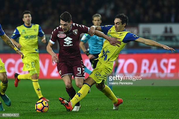 Andrea Belotti of FC Torino is challenged by Dario Dainelli of AC ChievoVerona during the Serie A match between FC Torino and AC ChievoVerona at...