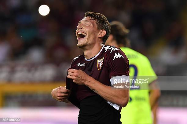 Andrea Belotti of FC Torino reacts after missing a penalty during the Serie A match between FC Torino and Bologna FC at Stadio Olimpico di Torino on...