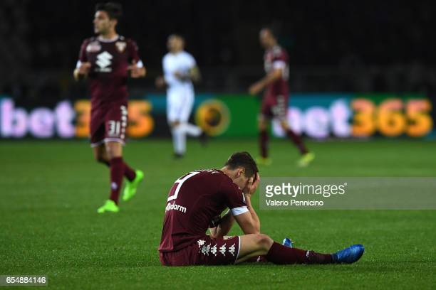 Andrea Belotti of FC Torino reacts during the Serie A match between FC Torino and FC Internazionale at Stadio Olimpico di Torino on March 18 2017 in...