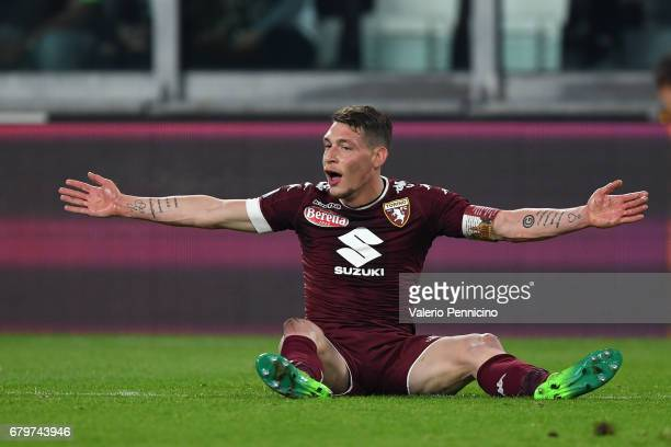 Andrea Belotti of FC Torino reacts during the Serie A match between Juventus FC and FC Torino at Juventus Stadium on May 6 2017 in Turin Italy